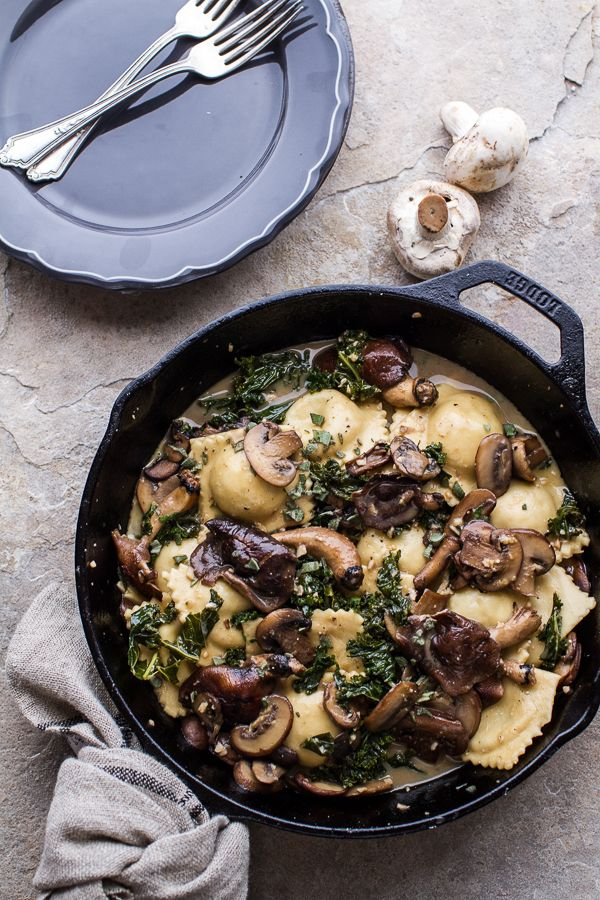 Taleggio Ravioli with Garlicy Butter Kale and Wild Mushroom Sauce + Toasted Pine Nuts | halfbakedharvest.com @hbharvest www.tablescapesbydesign.com https://www.facebook.com/pages/Tablescapes-By-Design/129811416695