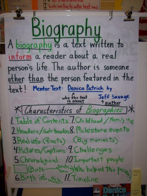 Biography Anchor Chart- Love the examples and clarity- We use a lot of biographies in our read aloud curriculm