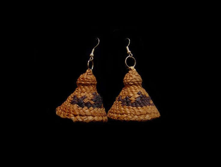 """Whaler Hat Style Earrins by Mary Martin,  Nuu Chah Nulth. Cedar bark, swampgrass and dye.  Measuring 1.25"""" x 1.25"""". Northwest Coast First Nations Jewelry."""