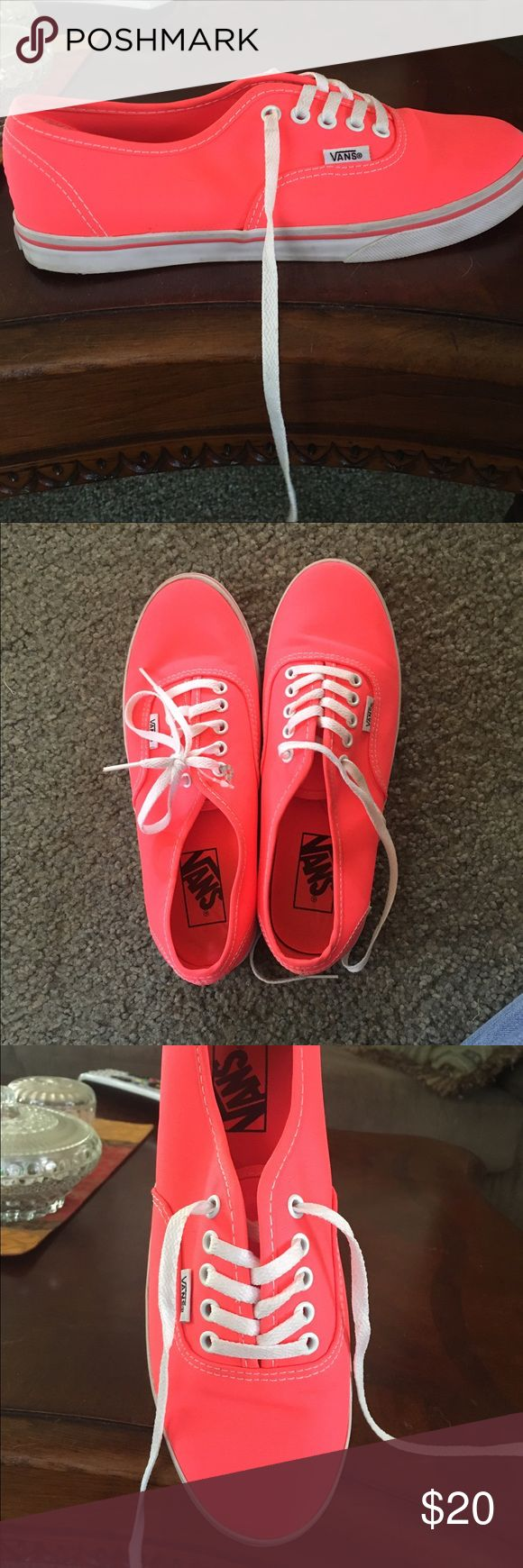 neon coral Vans Coral vans. Women's size 7. These were only worn once and are in perfect condition. Vans Shoes Sneakers