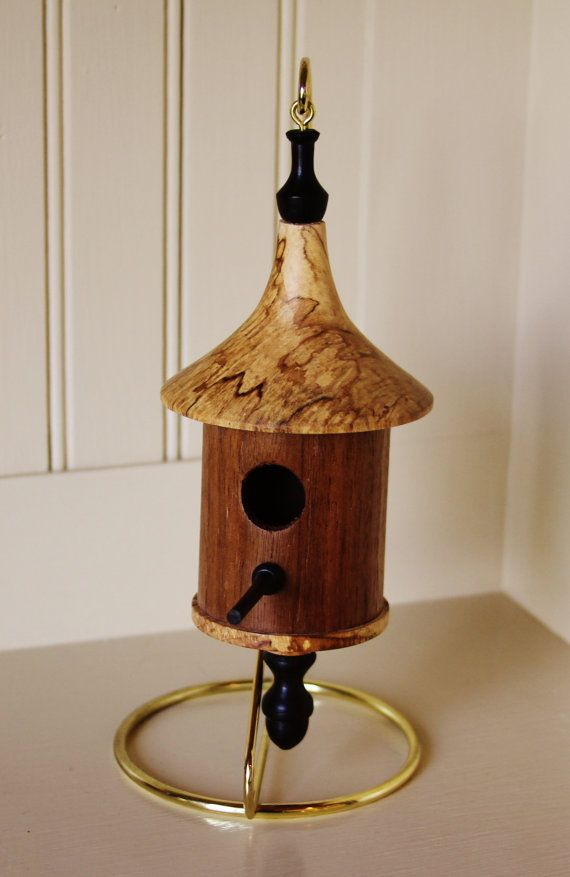 Miniature Woodturned Bird House By Junctiontrade On Etsy