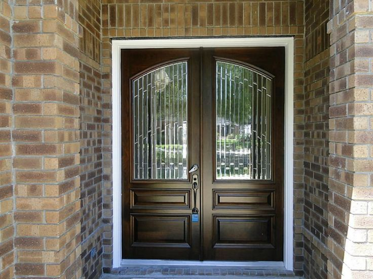 Pictures Of Front Double Glass Doors   For Front Porch Decoration With  Mahogany Glass Arch Double
