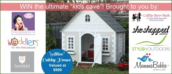 {WIN THE ULTIMATE KIDS CUBBY - VALUED AT $999} We've joined forces with the following amazing businesses to bring you the chance to win the ultimate kids cubby house!! Thanks to Mums Lounge, She Shopped, MummaBubba Jewellery, Stylish Outdoors, Hootkid & Woddlers- For the little people!! Enter now for your chance to win!! https://www.facebook.com/stylishoutdoors