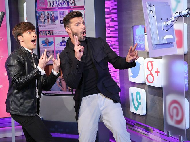Star Tracks: Tuesday, February 3, 2015 | LA VIDA LOCA | Ricky Martin goofs around during a Sunday appearance on Nuestra Belleza Latina at Miami's Univision Studios.