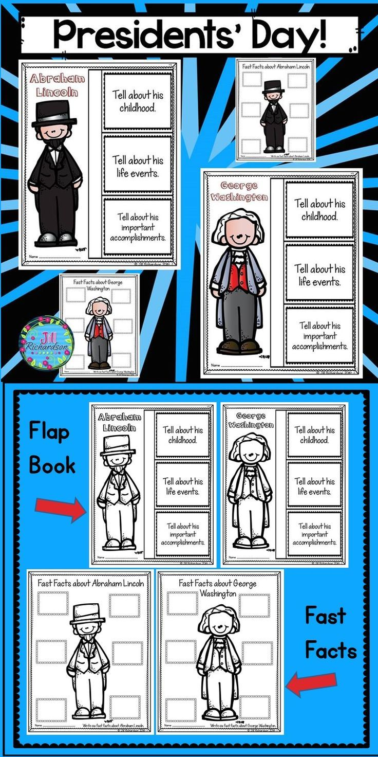 Presidents' Day Activities: Have your children research George Washington and Abraham Lincoln. This product includes two ways for your children to share what they have learned about them. TAKE A LOOK AT THE PREVIEW! George Washington Flap Book Printable (color and black and white) George Washington Fast Facts (color and black and white) Abraham Lincoln Flap Book Printable (color and black and white) Abraham Lincoln Fast Facts (color and black and white