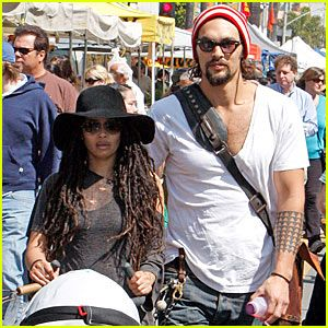 Lisa Bonet and her longtime love, Stargate Atlanis hunk Jason Momoa, take their son Nakoa-Wolf, 3 months, for a stroll through the Farmers Market at The Grove on a very sunny Wednesday (March 18) in southern California.