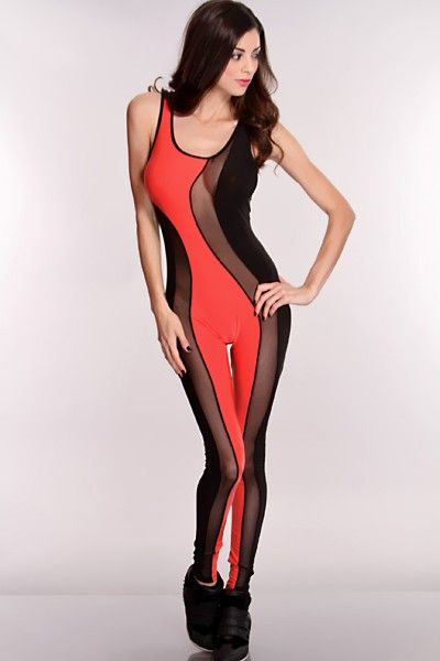 Step out with style in this stylish outfit. It will catch attention wherever you go, Its a must have. This style Features a scoop neck, mesh cut outs, sleeveless, two toned and nice fitted 95% Polyester 5% Spandex Mesh: 92% Nylon 8% Spandex Note: color looks brighter in picture