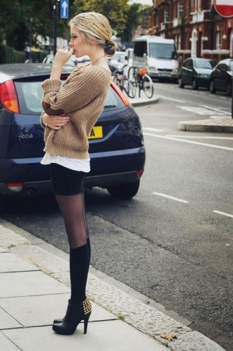 Sweater over a tee, with a pencil skirt and tights.: Shoes, Sweaters, Outfits, Fashion, Elbow Patches, Street Style, Tights, Knee High Socks, Boots