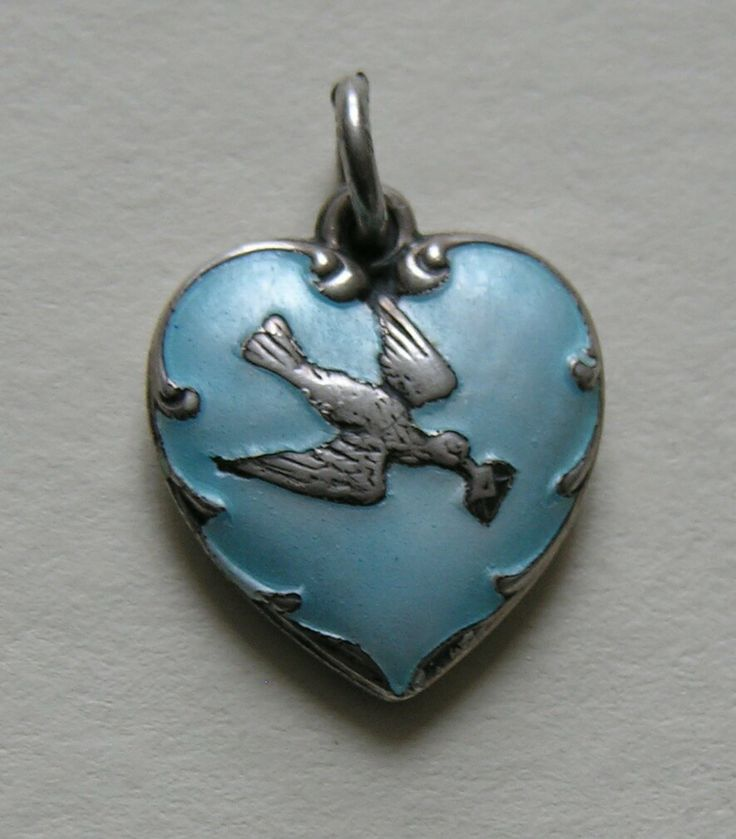 Vintage Enameled Bird and Love Letter Sterling Heart Charm
