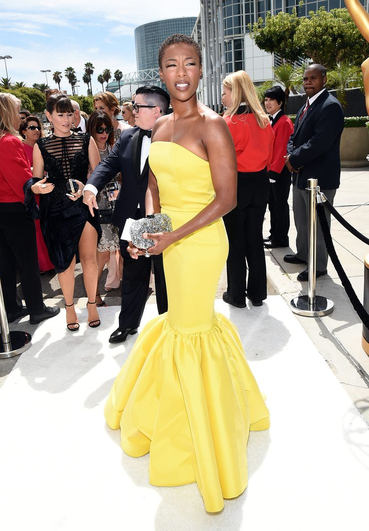 Samira Wiley in a bright canary yellow mermaid gown at the Emmys.