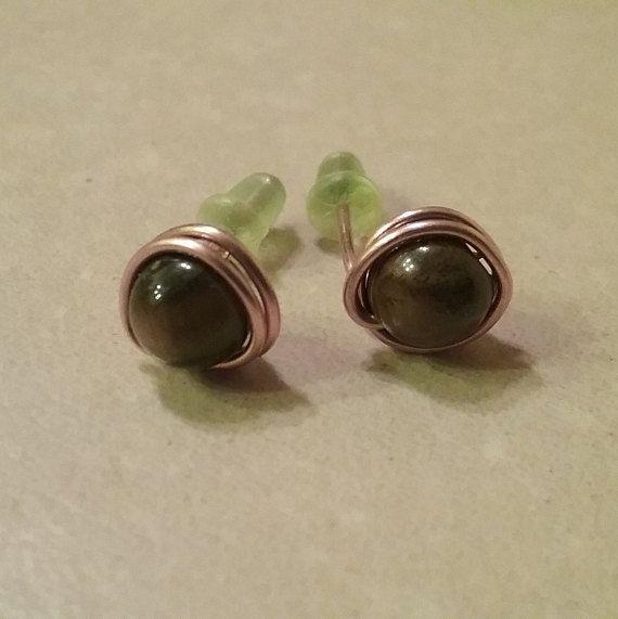 Tiger's Eye Earrings Wire Wrapped Studs Brown Earrings Small Earrings Copper Earrings Unisex Earrings Girlfriend Gift Boyfriend Gift