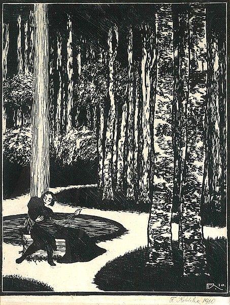 """""""Lovers""""  - František Kobliha František Kobliha Milenci dřevoryt / woodcut, 31 x 24 cm, 1910"""
