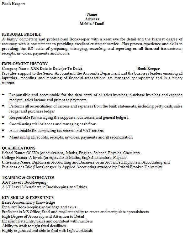 Bookkeeper Cv Wpawpartco Sample Resume Cv Template Uk Cover Letter For Resume