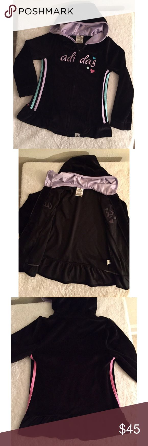 """Girl's Adidas kids zip up hoodie. Three Stripes. Rare Adidas kids girls zip up hoodie with three different color stripes & hearts. This jacket is practically new and it is extremely pretty! It is size 6X, 6X is a true size bigger than size 6 and a true size smaller than 7. 6X is about an inch bigger around and about 2"""" longer in length than a 6. This allows for your child to wear the jacket longer than normal despite growth-- they can be styling for twice as long!! Adidas Shirts & Tops…"""
