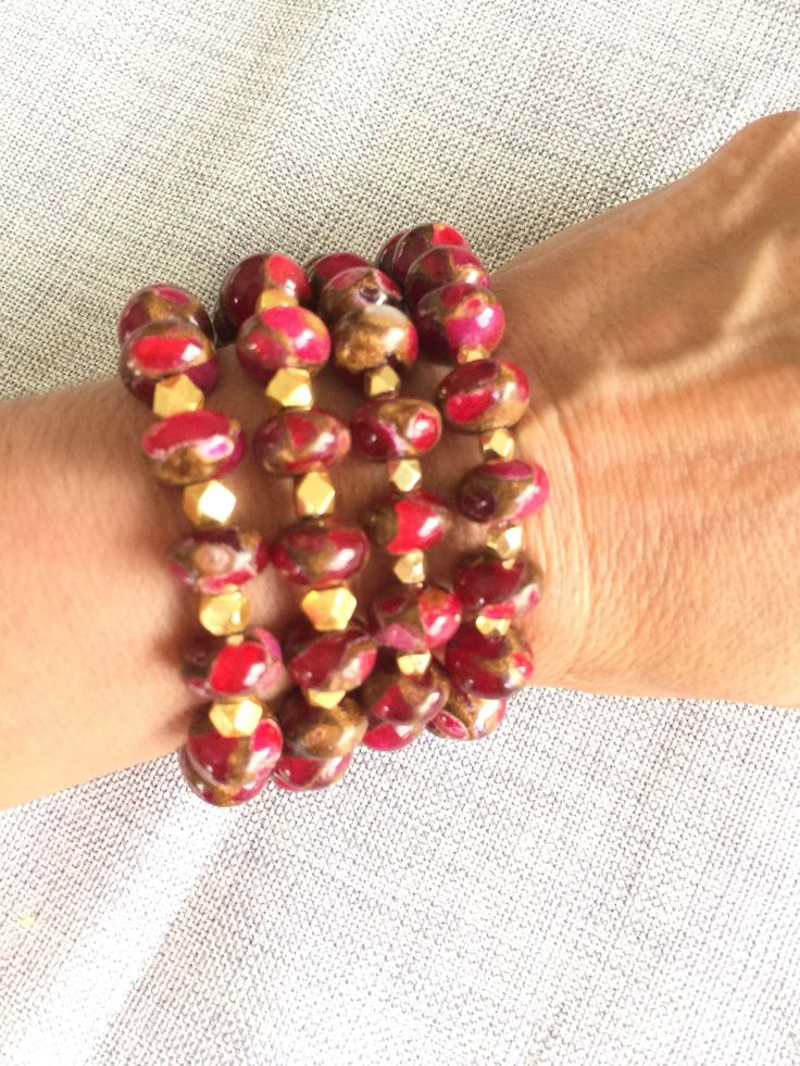 set of 4 Red Agate Gold Nugget Bracelets, Cherry Red Agate Jewelry, Stacking Bracelet, Red Fire Agate, Genuine Red Gemstone Bracelet by Elegantzia on Etsy