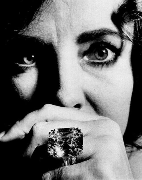 """Elizabeth Taylor. The Krupp Diamond, a gift to Elizabeth Taylor from Richard Burton. """"You can't cry on a diamond's shoulder, and diamonds won't keep you warm at night, but they're sure fun when the sun shines"""" ~ Elizabeth Taylor,1969."""