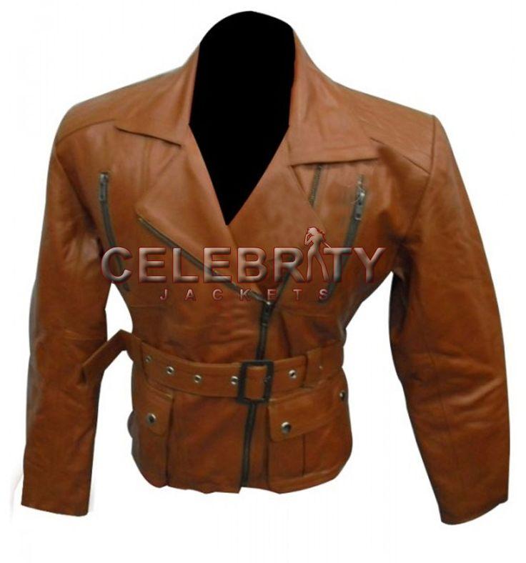Vintage Women Belted Brown Leather Jacket