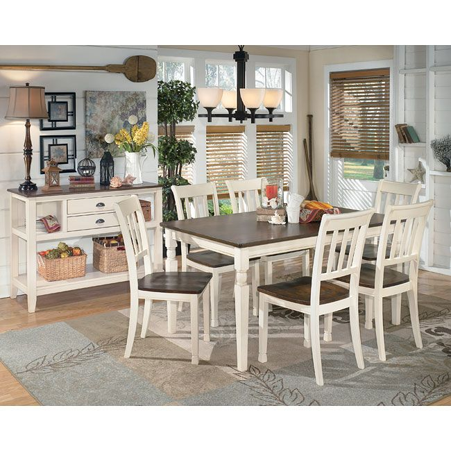 With the warm two-tone look of the cottage white and burnished brown finishes beautifully accenting the stylish cottage design, the Whitesburg Rectangular Dining Room Set by Signature Design by Ashley Furniture creates an inviting cottage retreat within the decor of any dining room. The cottage style of this dining collection is just the thing you need to create an inviting space for meals and more with family and friends. Part of Whitesburg Dining Room Set by Signature Design by Ashley…