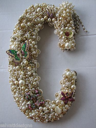 """Handcrafted Monogram Letter """"C"""" Wall Art Decor Vintage Jewelry Pearls   eBay - hehehe I need to make something like this for my craft room! :)"""