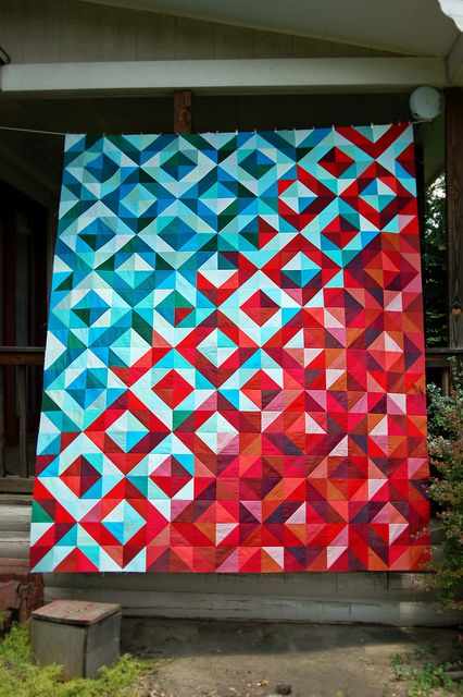I absolutely love love love this!  @Jennie & Clara {Clover & Violet} Lava Meets Sea Quilt Top Finished by Sarah.WV, via Flickr