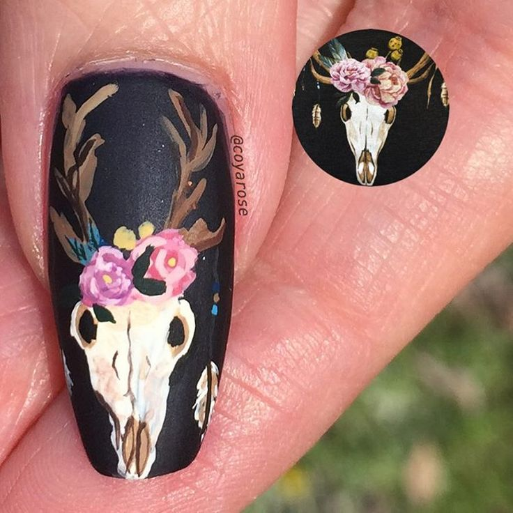 Deer skull southwest desert western nails nail art