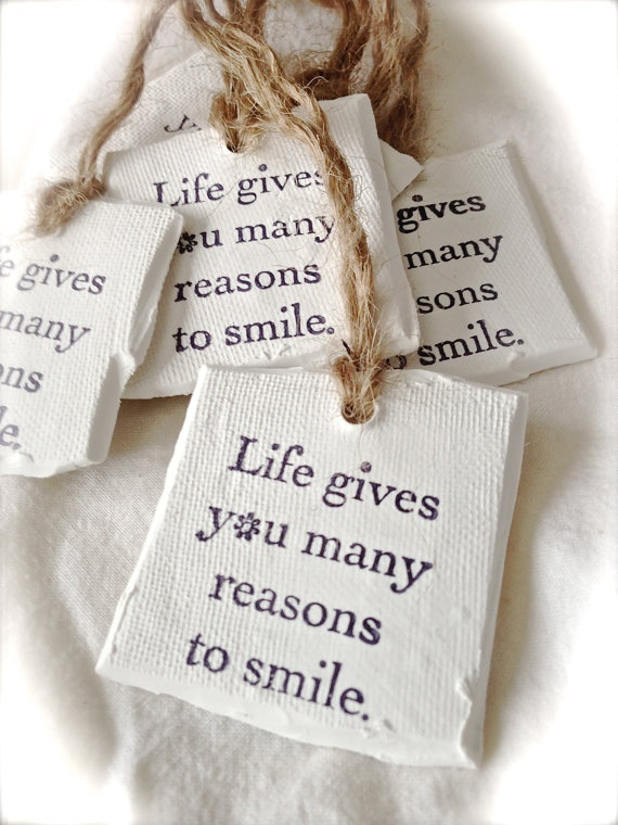 Clay polymer gift tags.