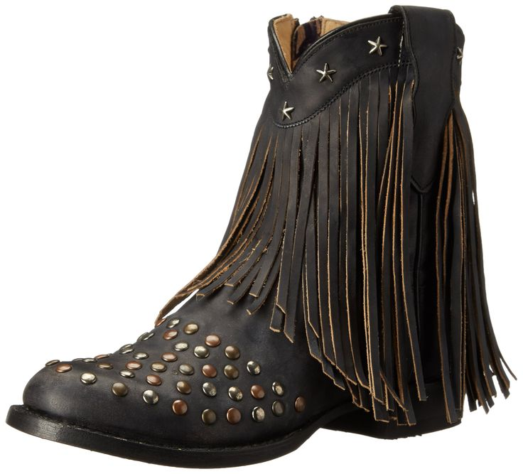 Stetson Women's Lila Western Boot, Distressed Black, 8.5 M US. Ankle-high western boot featuring topline scallop with star-shape studs at trim, fringe cascading from shaft, and multicolor round studs at vamp. Breathable leather lining. Exposed instep zipper. Low stacked heel.