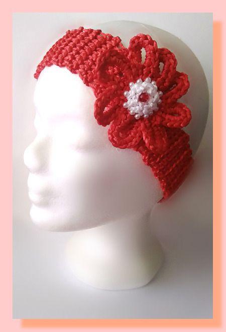 bandeau au crochet coton satiné accessoirisé d'une fleur perlée : Accessoires coiffure par chely-s-creation