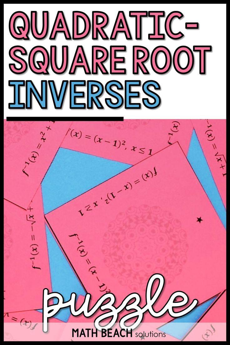 Quadratic Square Root Inverses Puzzle Activity Algebra