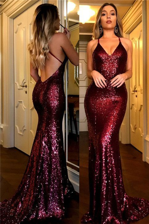 Sexy Sequined Prom Dresses,Burgundy V-Neck Open Back Prom Dress, Mermaid Evening Gowns