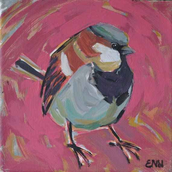 Original bird oil painting / birds / Sparrow / by NielsenDenmark