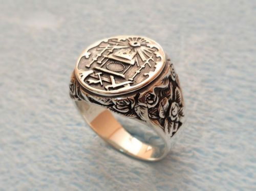 Masonic Ring Lodge Accent Sterling Silver 925 / Handmade  ALL