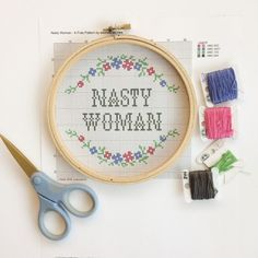 weelittlestitches free pattern - keep your pre-election nerves at bay, cross-stitching out your feminist angst!