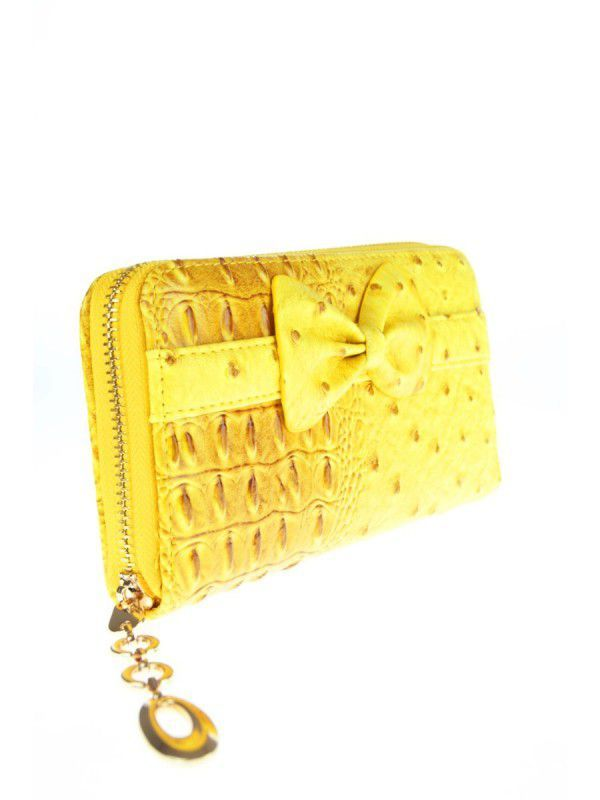 boFF Gele faux kroko lederen zip around portemonnee met strik online kopen