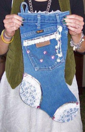 Denim Christmas stocking made out of old jeans.
