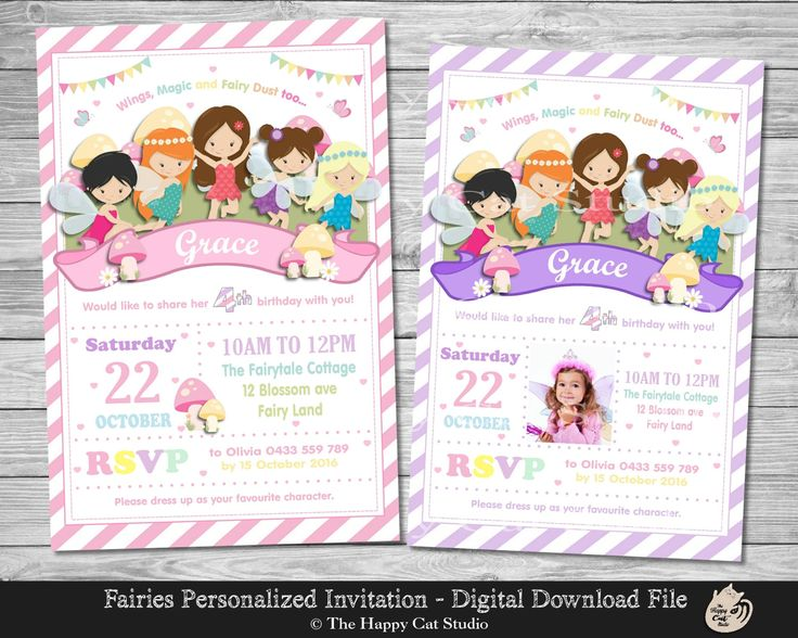 Fairy Invitation, Personalized, Printable, Any Age, 1st First Birthday Party, Invites, Digital Print Download File, Fairies, Rainbow, Girls by thehappycatstudio on Etsy