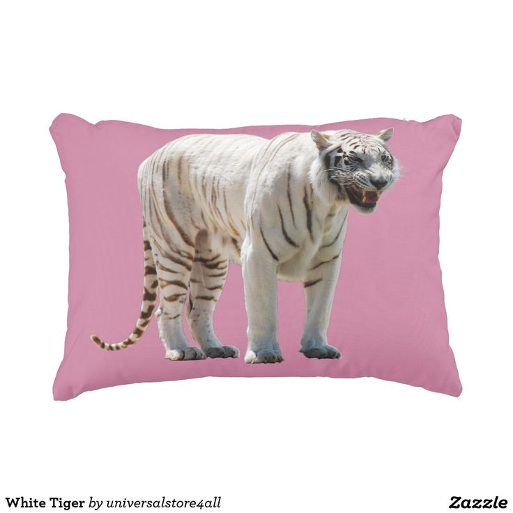 White Tiger Accent Pillow