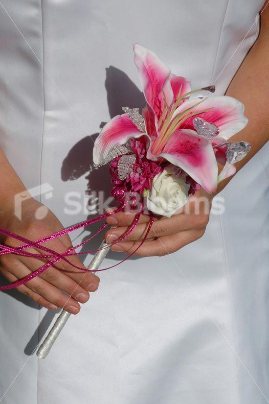 Stunning Fuchsia Stargazer Lily Wedding Wand w/ Crystal Day Lily ...