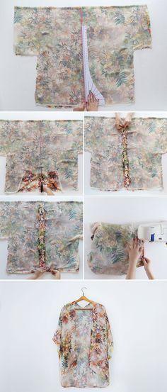 DIY a kimono Tutorial Sew Women FAshion Summer EAsy +++ Haz tu misma un kimono blusa amplia comoda facil explicacion