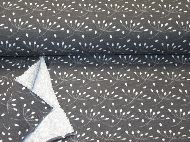 Stretch+Sweat+with+*Dindelion+Flower*+dark+grey+van+Nordlicht-Stoffe+op+DaWanda.com