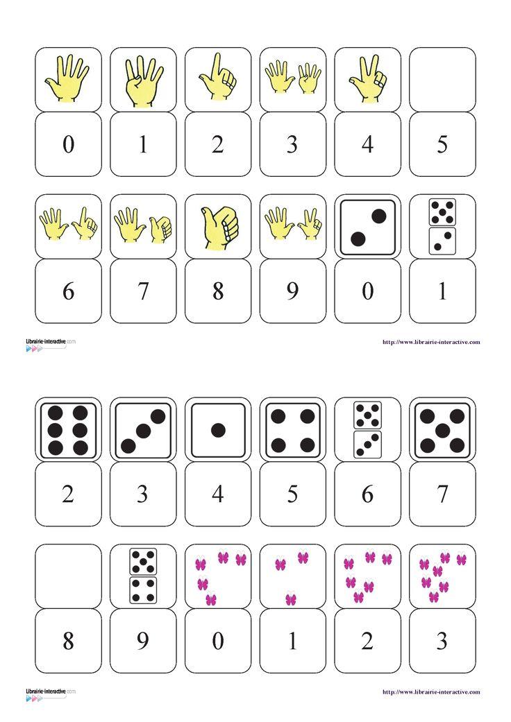 Un petit jeu de dominos pour découvrir les chiffres de 0 à 9 et les différentes…