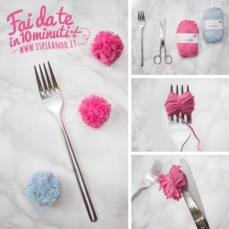Come creare pon pon fai da te utilizzando una forchetta! Da fare in soli 10 minuti! / Easy DIY pon pons made with fork • #DIY #ponpon #tutorial #colorful #decoration