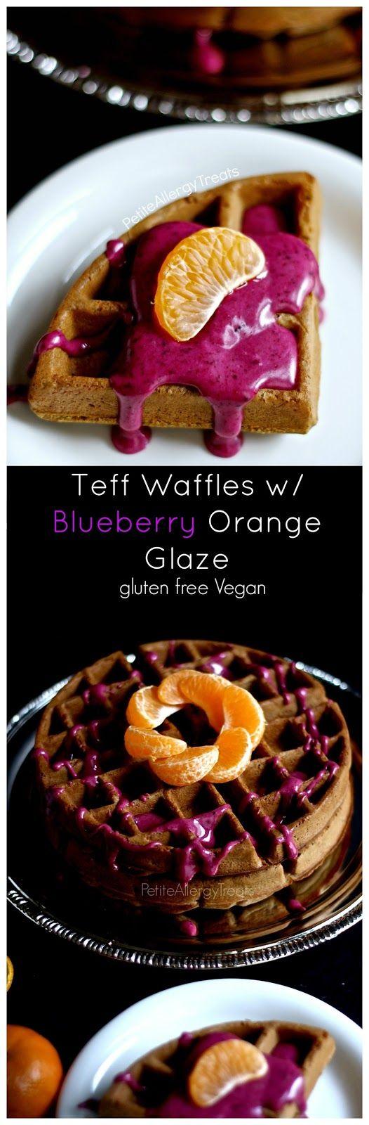 Teff Waffles w/ Blueberry Orange Glaze (gluten free vegan) Delicious waffles packed with wholesome teff flour and blueberry-orange glaze