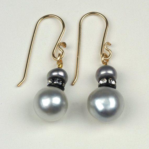 Black Tahitian Pearl Earrings South Sea Pearl Earrings by 2Roses