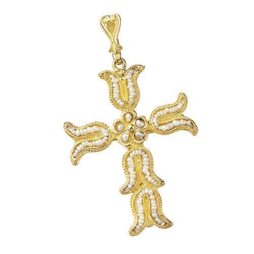 Croce RICAMI in oro 18kt con microperle - 16010