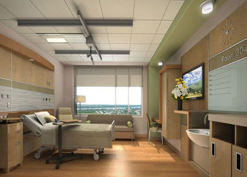 Patient Room design at the Indu & Raj Soin Medical Center- the room patient board in this room is a great idea