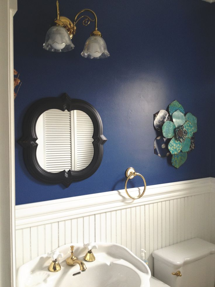 Dark Blue Walls With White Wainscoting In Bathroom Very