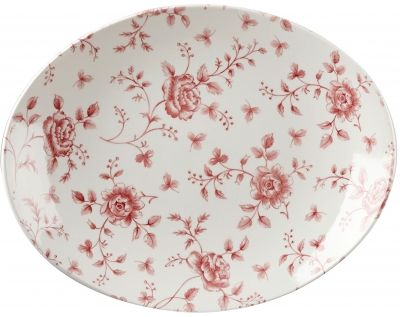 Cranberry Rose Oval Chintz Plate