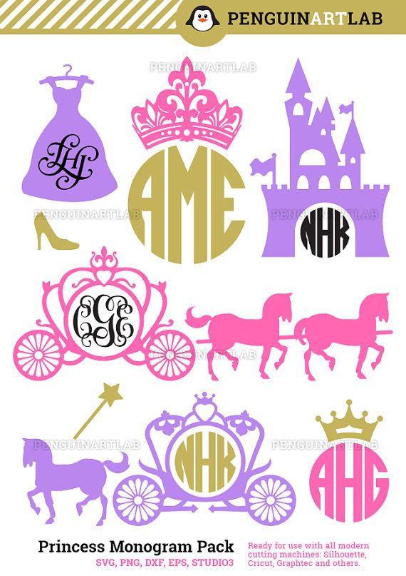 Princess Carriage Monogram Frames SVG Cutting Files - Kingdom Cut Files for…