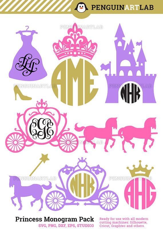 Princess Carriage Monogram Frames SVG Cutting Files - Kingdom Cut Files for…